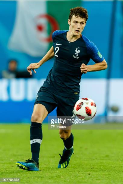 Benjamin Pavard of France controls the ball during the 2018 FIFA World Cup Russia Semi Final match between France and Belgium at Saint Petersburg...