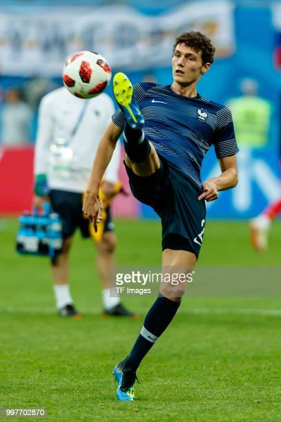 Benjamin Pavard of France controls the ball prior to the 2018 FIFA World Cup Russia Semi Final match between France and Belgium at Saint Petersburg...
