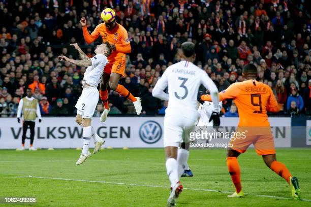 Benjamin Pavard of France Denzel Dumfries of Holland during the UEFA Nations league match between Holland v France at the Feyenoord Stadium on...