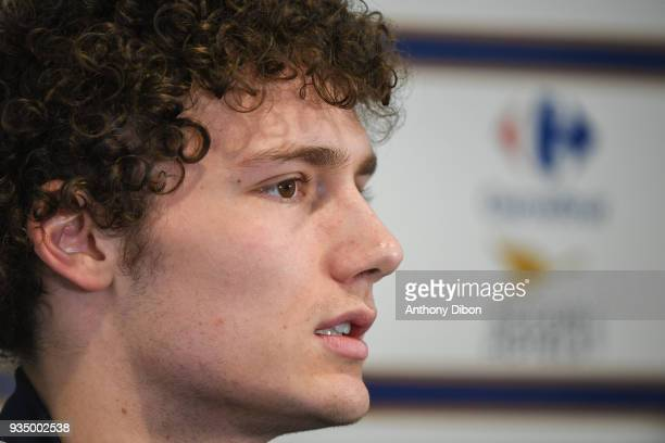 Benjamin Pavard of France during media meeting at Centre National du Football on March 20 2018 in Clairefontaine en Yvelines France