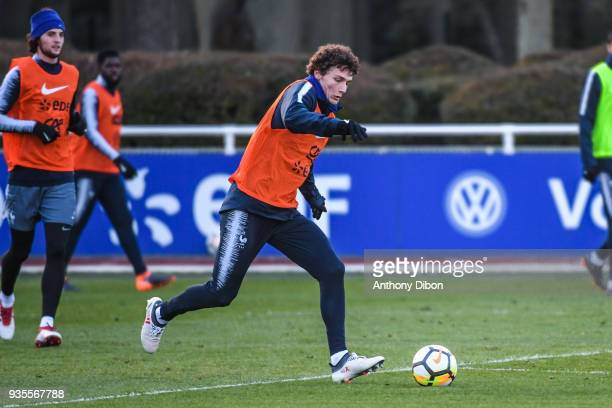 Benjamin Pavard of France during training session at Centre National du Football on March 20 2018 in Clairefontaine en Yvelines France