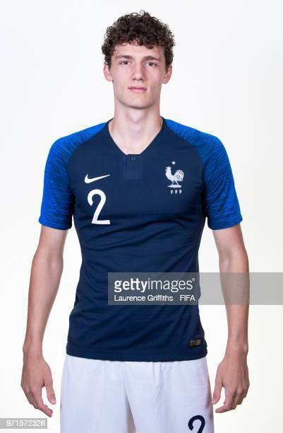 Benjamin Pavard of France poses for a portrait during the official FIFA World Cup 2018 portrait session at the Team Hotel on June 11 2018 in Moscow...