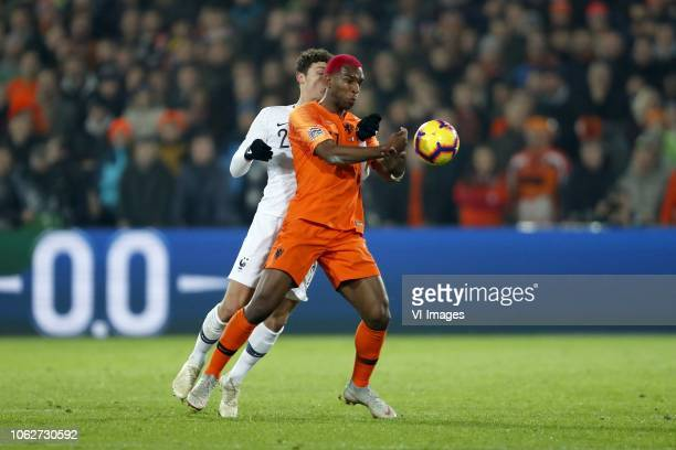 Benjamin Pavard of France Ryan Babel of Holland during the UEFA Nations League A group 1 qualifying match between The Netherlands and France at...