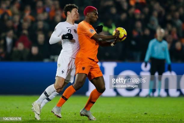 Benjamin Pavard of France Ryan Babel of Holland during the UEFA Nations league match between Holland v France at the Feyenoord Stadium on November 16...