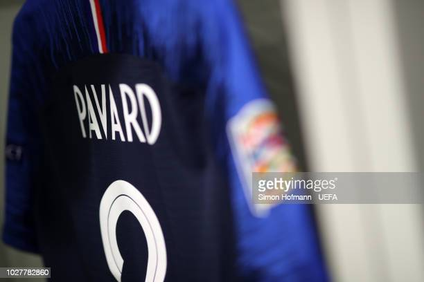 Benjamin Pavard of France shirt is seen in the changing room prior to the UEFA Nations League Group A match between Germany and France at Allianz...