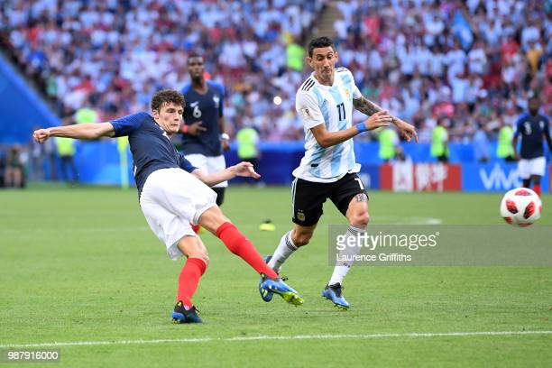 Benjamin Pavard of France shoots and scores his side's second goal during the 2018 FIFA World Cup Russia Round of 16 match between France and...
