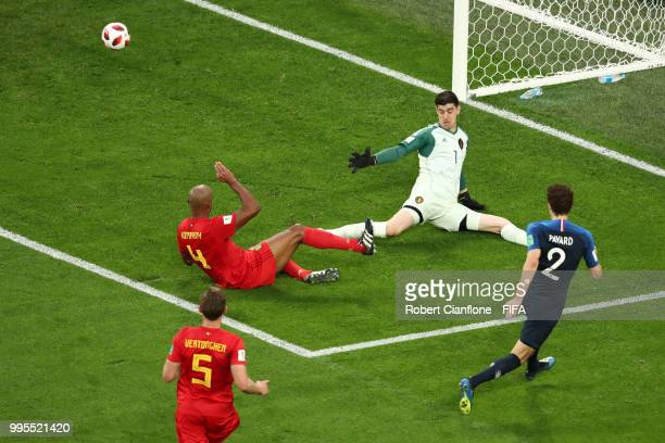 Benjamin Pavard of France shoots wide past Thibaut Courtois of Belgium during the 2018 FIFA World Cup Russia Semi Final match between Belgium and...