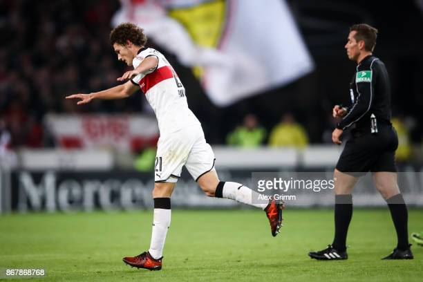 Benjamin Pavard of Stuttgart celebrates after scoring his team's second goal to make it 20 during the Bundesliga match between VfB Stuttgart and...