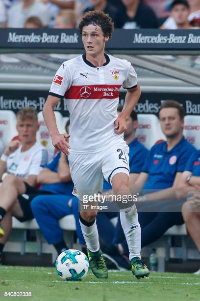 Benjamin Pavard of Stuttgart controls the ball during the Bundesliga match between VfB Stuttgart and 1FSV Mainz 05 at MercedesBenz Arena on August 26...