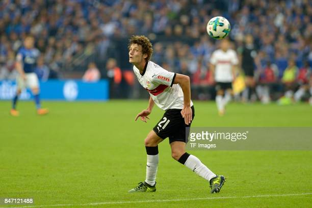 Benjamin Pavard of Stuttgart controls the ball during the Bundesliga match between FC Schalke 04 and VfB Stuttgart at VeltinsArena on September 10...