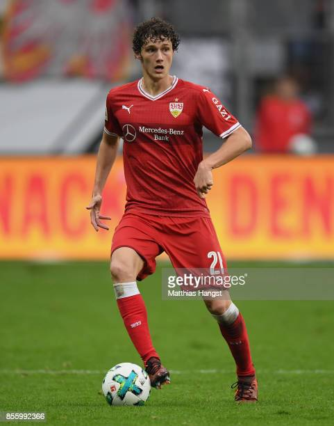 Benjamin Pavard of Stuttgart controls the ball during the Bundesliga match between Eintracht Frankfurt and VfB Stuttgart at CommerzbankArena on...