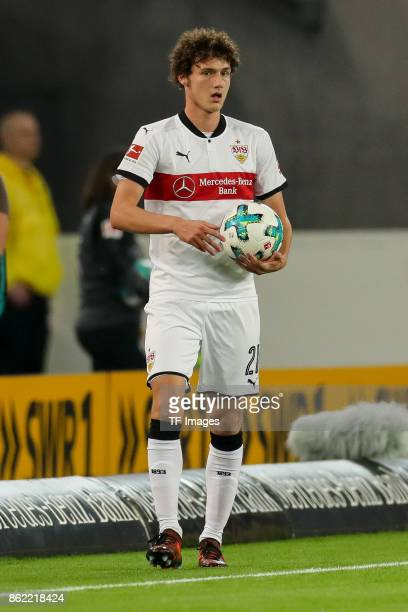 Benjamin Pavard of Stuttgart controls the ball during the Bundesliga match between VfB Stuttgart and 1 FC Koeln at MercedesBenz Arena on October 13...