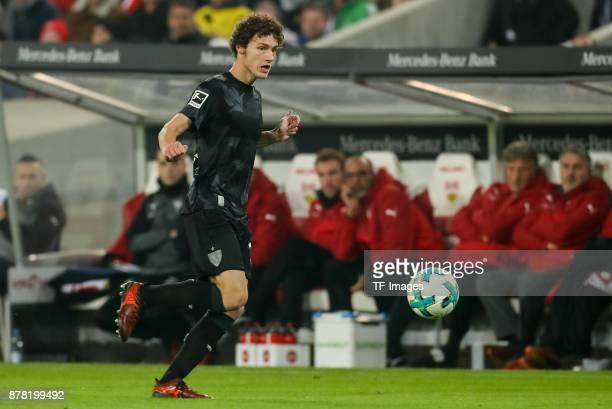 Benjamin Pavard of Stuttgart controls the ball during the Bundesliga match between VfB Stuttgart and Borussia Dortmund at MercedesBenz Arena on...