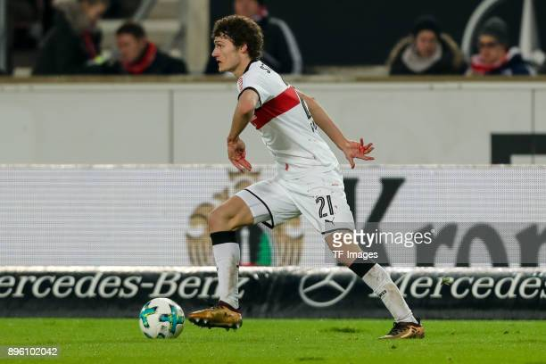 Benjamin Pavard of Stuttgart controls the ball during the Bundesliga match between VfB Stuttgart and FC Bayern Muenchen at MercedesBenz Arena on...