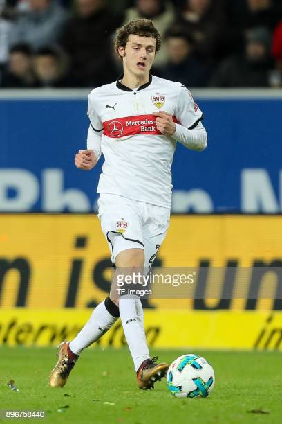 Benjamin Pavard of Stuttgart controls the ball during the Bundesliga match between TSG 1899 Hoffenheim and VfB Stuttgart at Wirsol RheinNeckarArena...