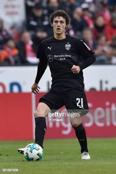 Benjamin Pavard of Stuttgart controls the ball during the Bundesliga match between 1 FC Koeln and VfB Stuttgart at RheinEnergieStadion on March 4...