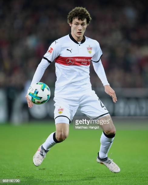 Benjamin Pavard of Stuttgart controls the ball during the Bundesliga match between SportClub Freiburg and VfB Stuttgart at SchwarzwaldStadion on...