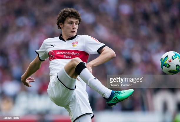 Benjamin Pavard of Stuttgart controls the ball during the Bundesliga match between VfB Stuttgart and Hamburger SV at MercedesBenz Arena on March 31...
