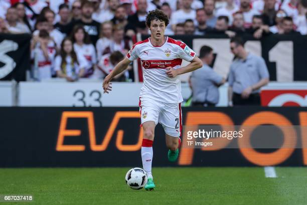 Benjamin Pavard of Stuttgart controls the ball during the Second Bundesliga match between VfB Stuttgart and Karlsruher SC at MercedesBenz Arena on...