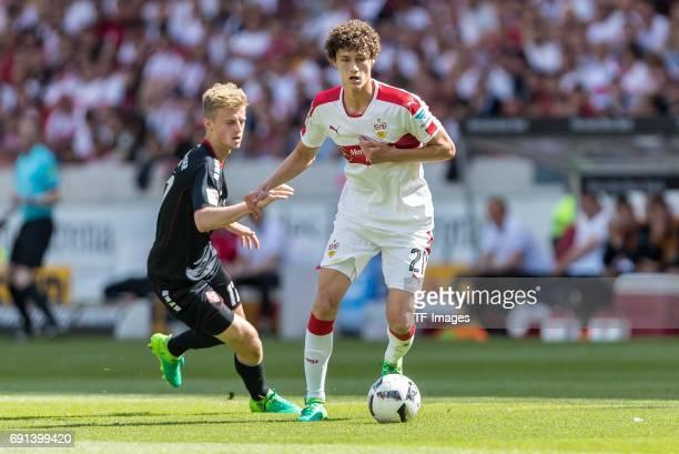 Benjamin Pavard of Stuttgart controls the ball during the Second Bundesliga match between VfB Stuttgart and FC Wuerzburger Kickers at MercedesBenz...