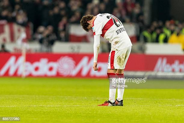Benjamin Pavard of Stuttgart disappointed during the Second Bundesliga match between VfB Stuttgart and Hannover 96 at MercedesBenz Arena on December...