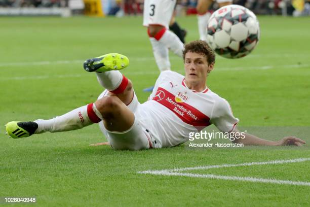 Benjamin Pavard of Stuttgart fights for the ball during the Bundesliga match between VfB Stuttgart and FC Bayern Muenchen at MercedesBenz Arena on...