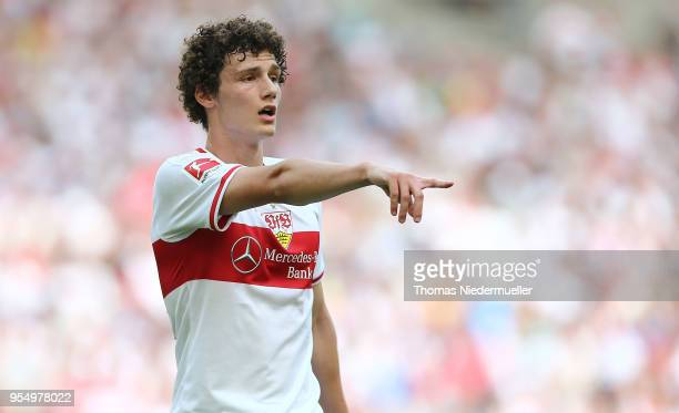 Benjamin Pavard of Stuttgart gestures during the Bundesliga match between VfB Stuttgart and TSG 1899 Hoffenheim at MercedesBenz Arena on May 5 2018...