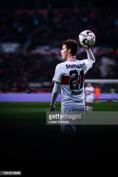 Benjamin Pavard of Stuttgart holds the ball during the Bundesliga match between Bayer 04 Leverkusen and VfB Stuttgart at BayArena on November 23 2018...