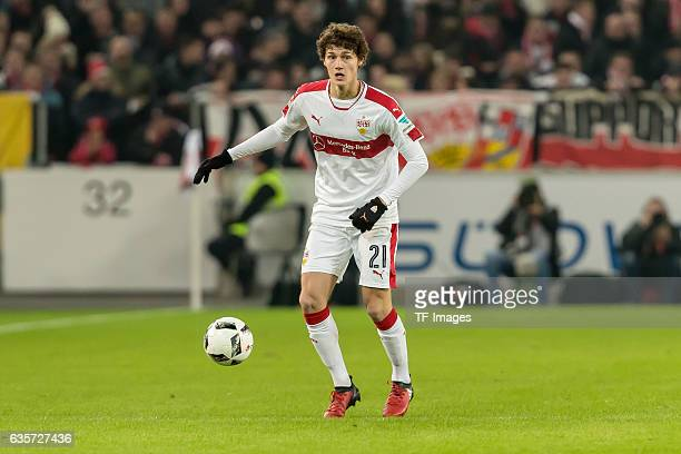 Benjamin Pavard of Stuttgart in action during the Second Bundesliga match between VfB Stuttgart and Hannover 96 at MercedesBenz Arena on December 12...
