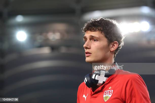 Benjamin Pavard of Stuttgart looks on prior to the Bundesliga match between VfB Stuttgart and Fortuna Duesseldorf at MercedesBenz Arena on September...