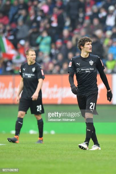 Benjamin Pavard of Stuttgart looks up during the Bundesliga match between FC Augsburg and VfB Stuttgart at WWKArena on February 18 2018 in Augsburg...
