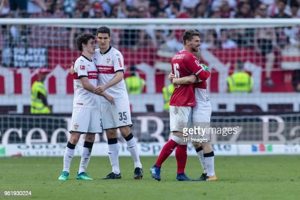 Benjamin Pavard of Stuttgart Marcin Kaminski of Stuttgart Goalkeeper RonRobert Zieler of Stuttgart and Santiago Ascacibar of Stuttgart celebrate...