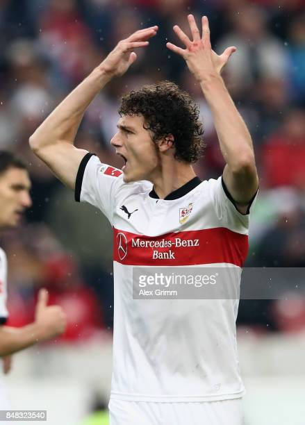Benjamin Pavard of Stuttgart reacts during the Bundesliga match between VfB Stuttgart and VfL Wolfsburg at MercedesBenz Arena on September 16 2017 in...