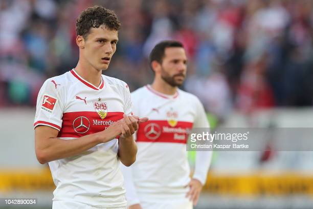Benjamin Pavard of Stuttgart thanks to the fans after the Bundesliga match between VfB Stuttgart and SV Werder Bremen at MercedesBenz Arena on...