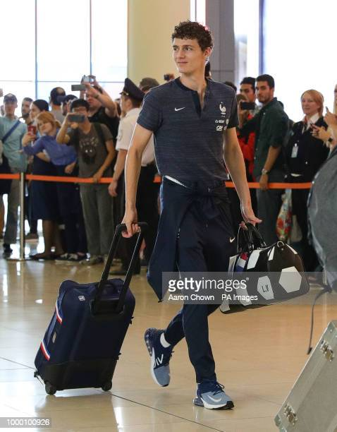 Benjamin Pavard of the French national football team arrives at the Sheremetyevo Airport Moscow for their flight back to France