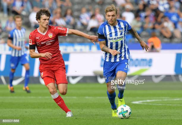 Benjamin Pavard of VfB Stuttgart and Alexander Esswein of Hertha BSC during the game between Hertha BSC and dem VfB Stuttgart on August 19 2017 in...