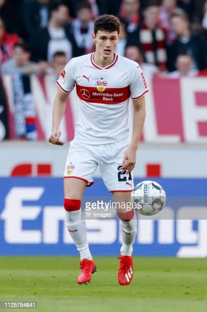 Benjamin Pavard of VfB Stuttgart controls the ball during the Bundesliga match between VfB Stuttgart and RB Leipzig at MercedesBenz Arena on February...