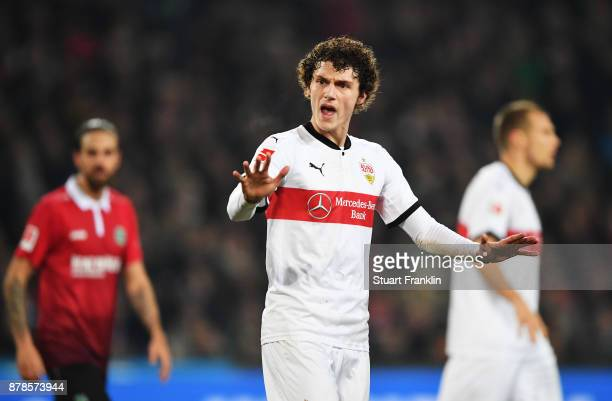 Benjamin Pavard of VfB Stuttgart during the Bundesliga match between Hannover 96 and VfB Stuttgart at HDIArena on November 24 2017 in Hanover Germany