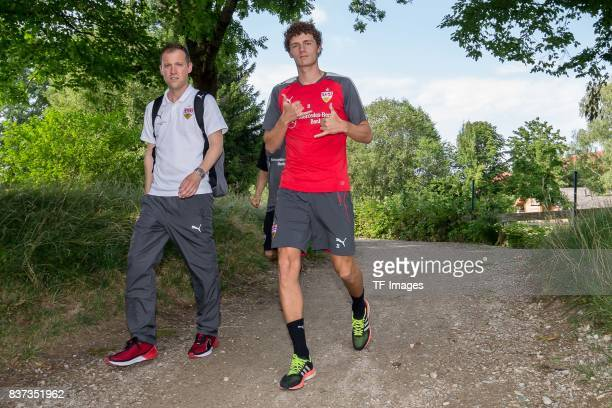 Benjamin Pavard of VfB Stuttgart gestures during the Training Camp of VfB Stuttgart on July 10 2017 in Grassau Germany