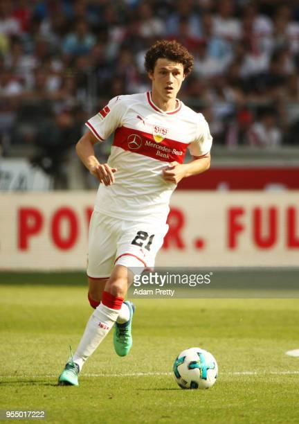 Benjamin Pavard of VfB Stuttgart in action during the Bundesliga match between VfB Stuttgart and TSG 1899 Hoffenheim at MercedesBenz Arena on May 5...
