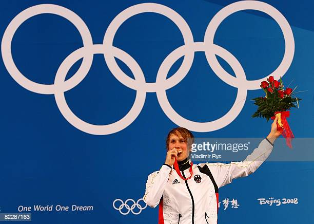 Benjamin Philip Kleibrink of Germany celebrates with his gold medal on the podium after defeating Yuki Ota of Japan in the men's individual foil gold...