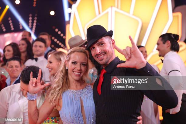 Benjamin Piwko and Isabel Edvardsson pose for a photograph during the preshow Wer tanzt mit wem Die grosse Kennenlernshow of the television...