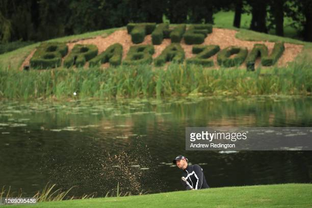 Benjamin Poke of Denmark plays out of a bunker on the 18th hole during Day 1 of the ISPS HANDA UK Championship at The Belfry on August 27, 2020 in...