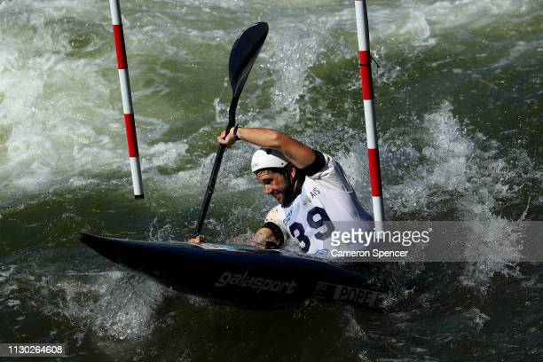 Benjamin Pope of Australia competes in the Men's Kayak Single semifinal during the 2019 Australian Canoe Slalom Open on February 17 2019 at Penrith...