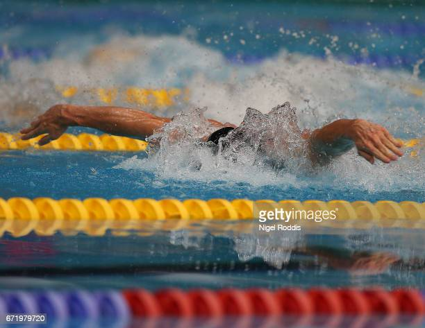 Benjamin Proud of Plymouth LEA competes in the Mens Open 50m Butterfly Final on day six of the 2017 British Swimming Championships at Ponds Forge on...
