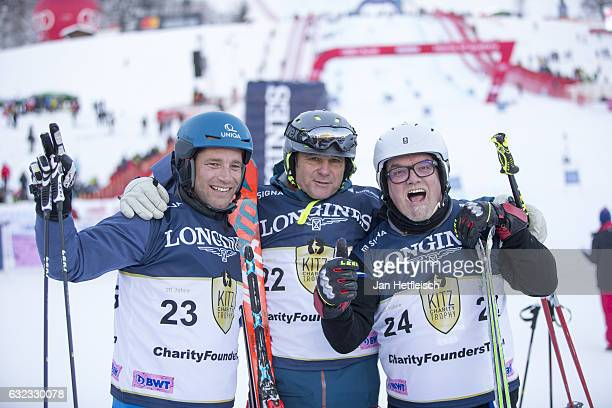Benjamin Raich Gerhard Berger and Gerhard Fried pose for a picture during the KitzCharityTrophy on January 21 2017 in Kitzbuehel Austria