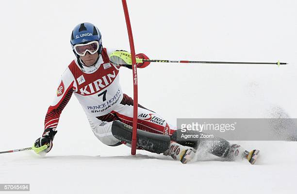 Benjamin Raich of Austria in action on his way to finishing in first place during the FIS Skiing World Cup Men's Slalom on March 10 2006 in Shiga...