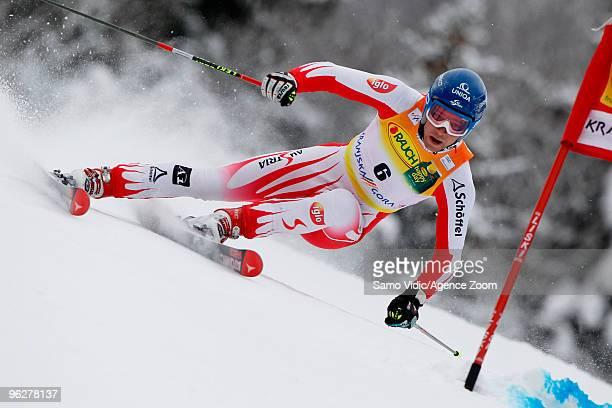 Benjamin Raich of Austria takes 6th place during the Audi FIS Alpine Ski World Cup Men's Giant Slalom on January 30 2010 in Kranjska Gora Slovenia