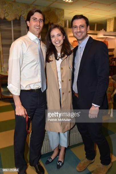 Benjamin Ross Julia Shingler and Josh Bell attend JMcLaughlin Shopping Event to benefit Save the Children at JMcLaughlin on April 5 2018 in New York...