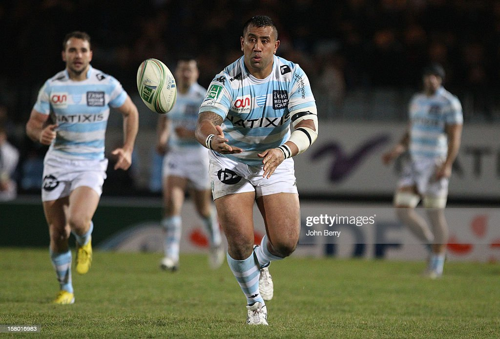 Benjamin Sa of Racing Metro 92 in action during the European Cup match between Racing Metro 92 and Edinburgh Rugby at the Stade Yves du Manoir on December 8, 2012 in Colombes nearby Paris, France.